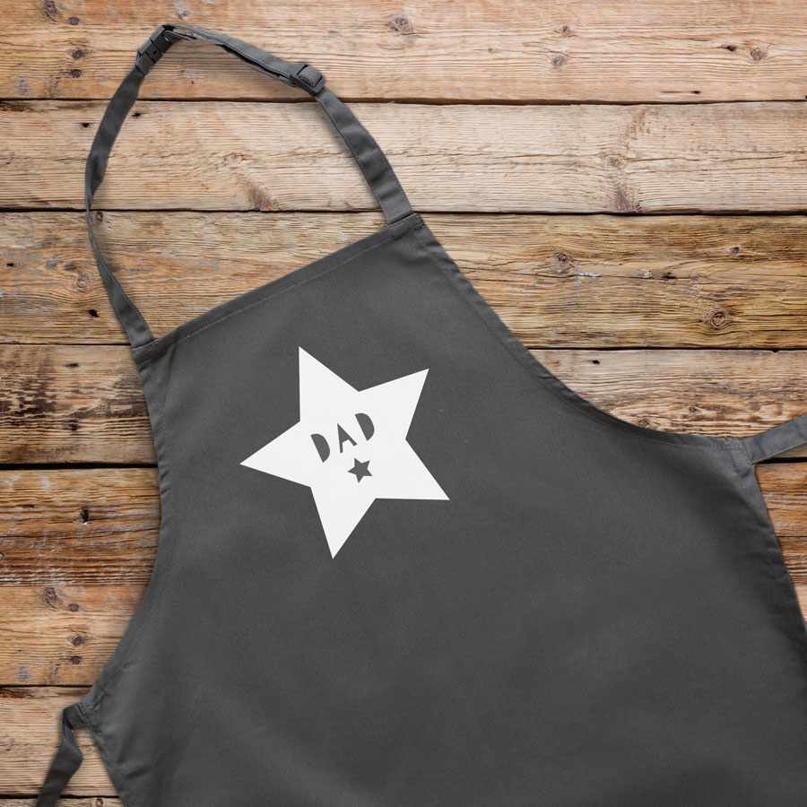 Personalised star apron (Grey) perfect gift for father's day, mother's day or birthdays