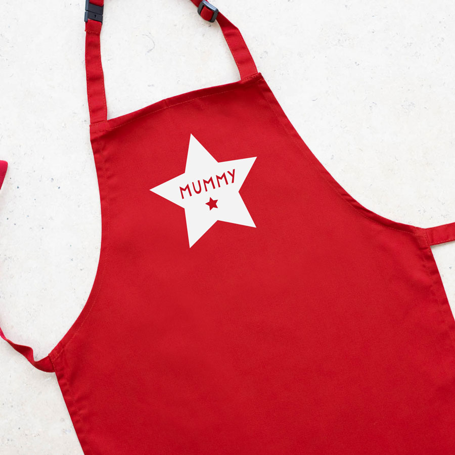 Personalised star apron (Red) perfect gift for father's day, mother's day or birthdays
