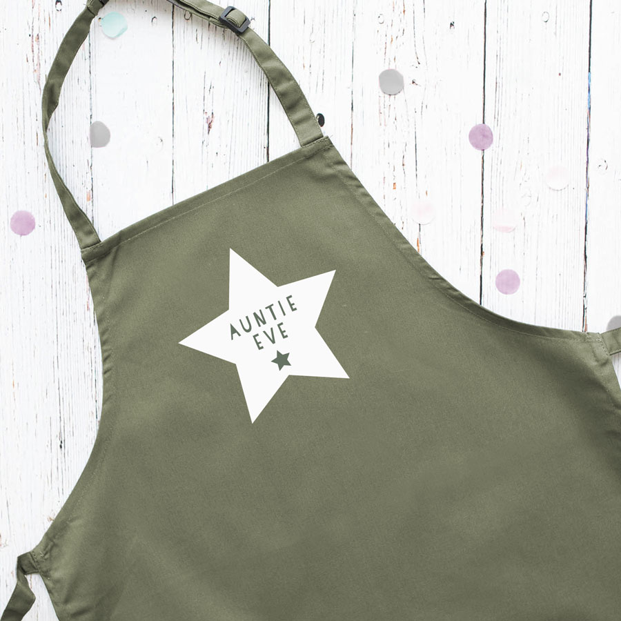 Personalised star apron (Sage) perfect gift for father's day, mother's day or birthdays