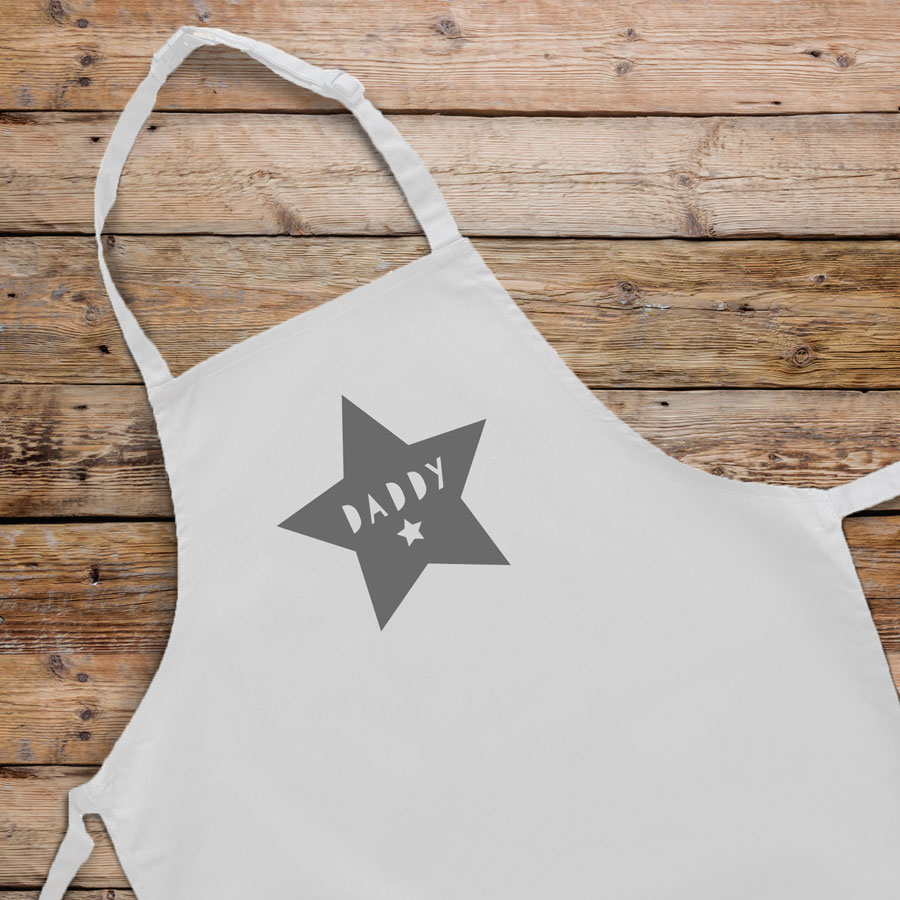 Personalised star apron (White) perfect gift for father's day, mother's day or birthdays