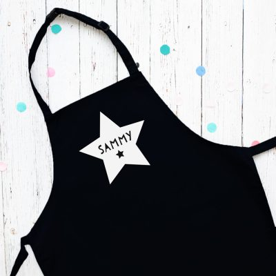 Personalised star apron (Black) perfect gift for a child who loves to help with baking and cooking