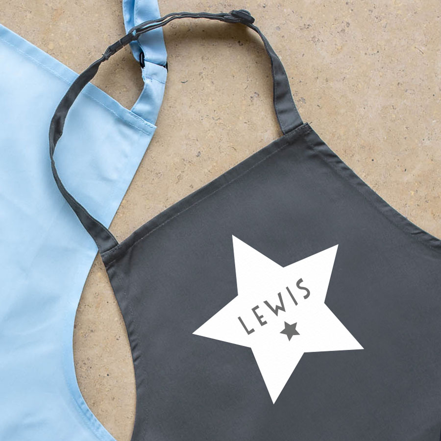 Personalised star apron (Grey) perfect gift for a child who loves to help with baking and cooking