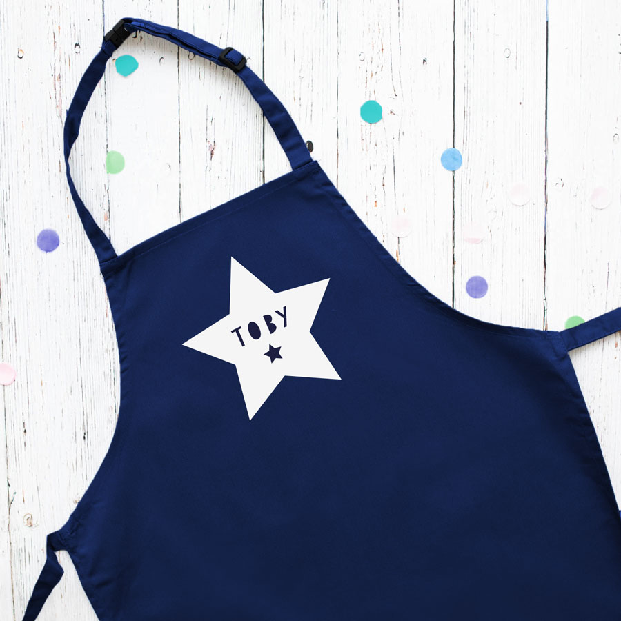 Personalised star apron (Navy) perfect gift for a child who loves to help with baking and cooking