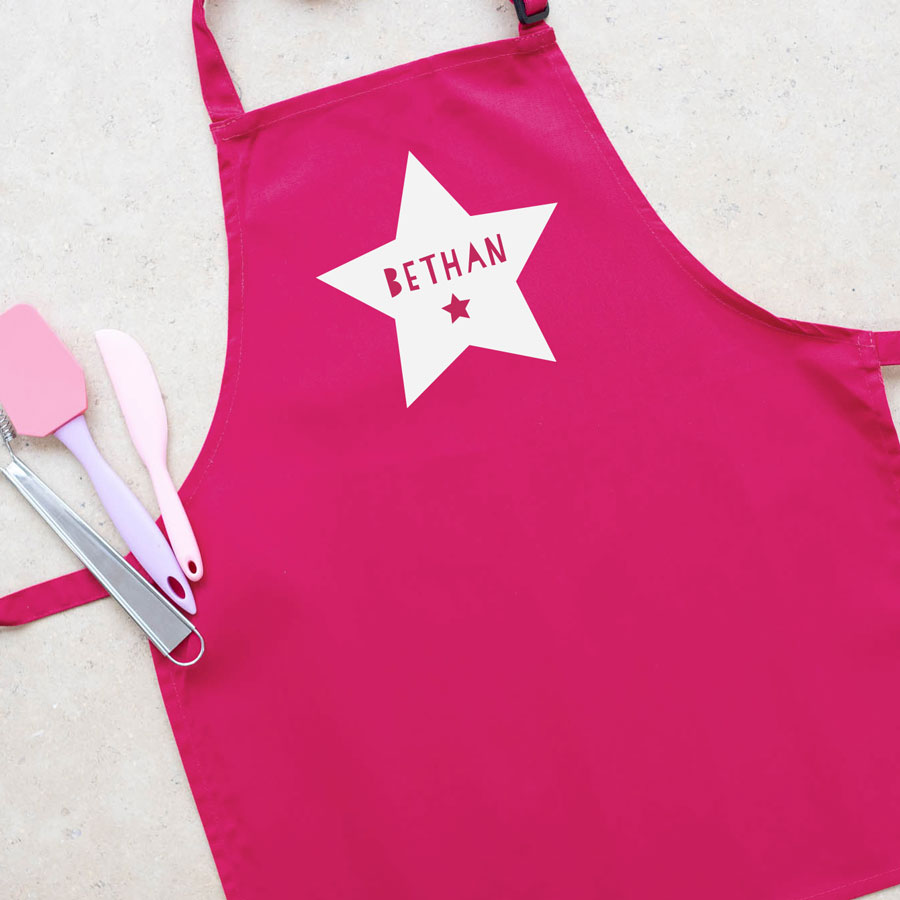 Personalised star apron (Pink) perfect gift for a child who loves to help with baking and cooking