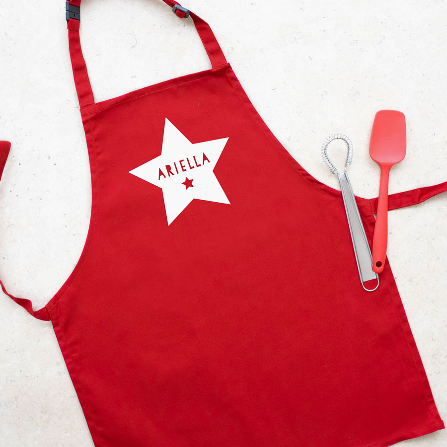 Personalised star apron (Red) perfect gift for a child who loves to help with baking and cooking