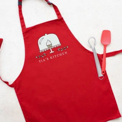 Personalised cupcake apron (Red) perfect gift for a child who loves to help with baking and cooking