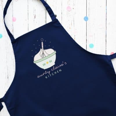 Personalised mixing bowl apron (Navy) perfect gift for a birthday or christmas