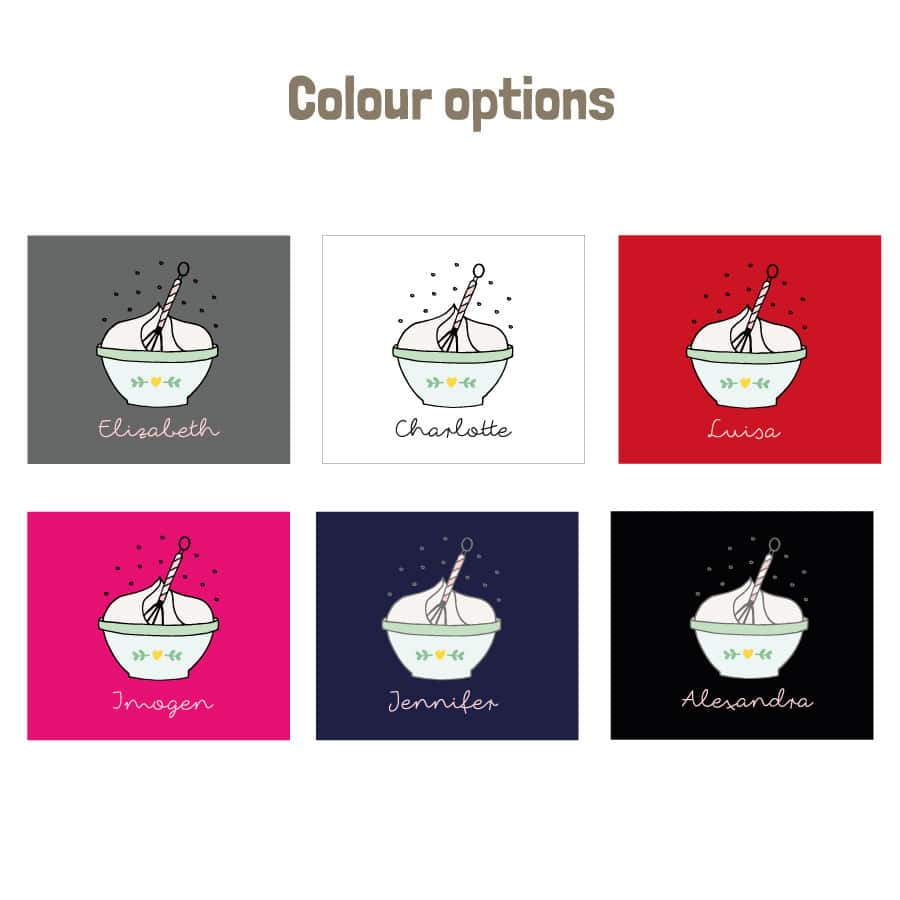 Personalised mixing bowl apron (colour options)