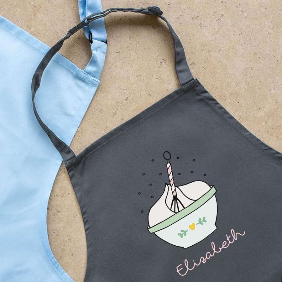 Personalised mixing bowl apron (Grey) perfect gift for a child who loves to help with baking and cooking