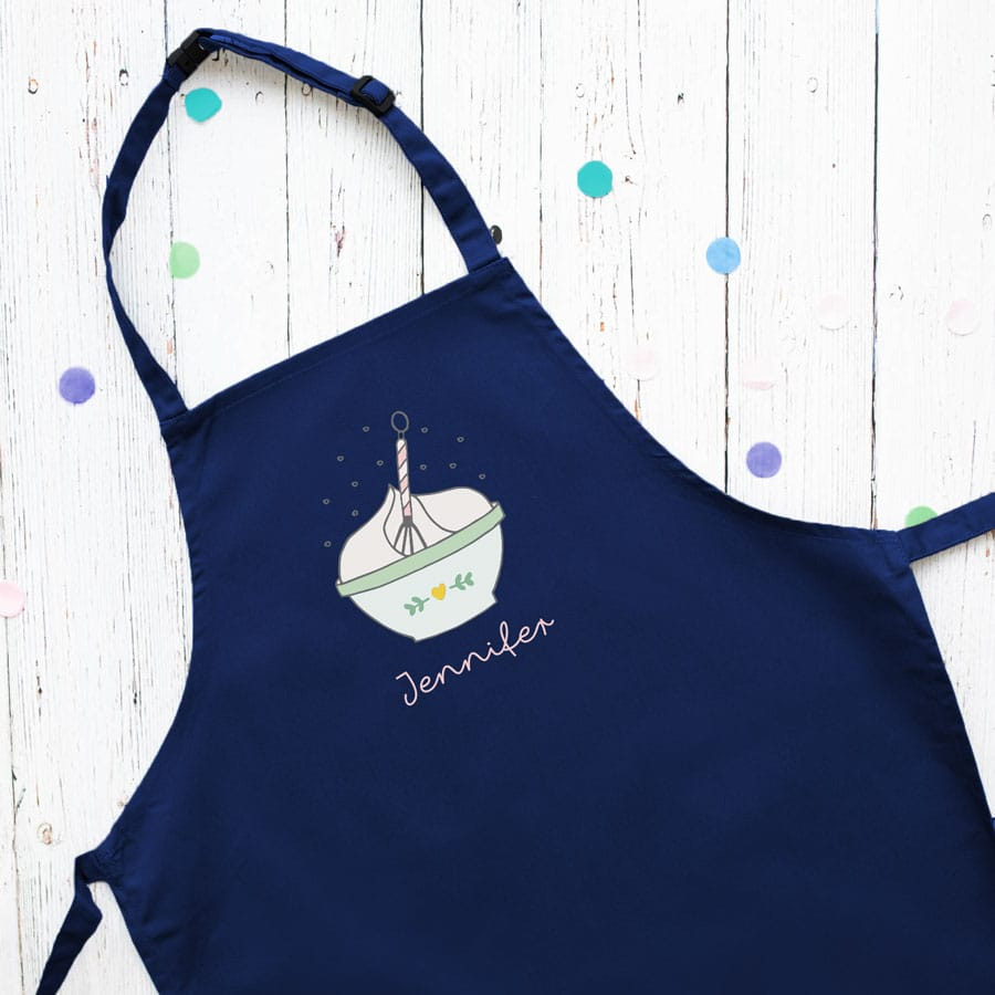 Personalised mixing bowl apron (Navy) perfect gift for a child who loves to help with baking and cooking