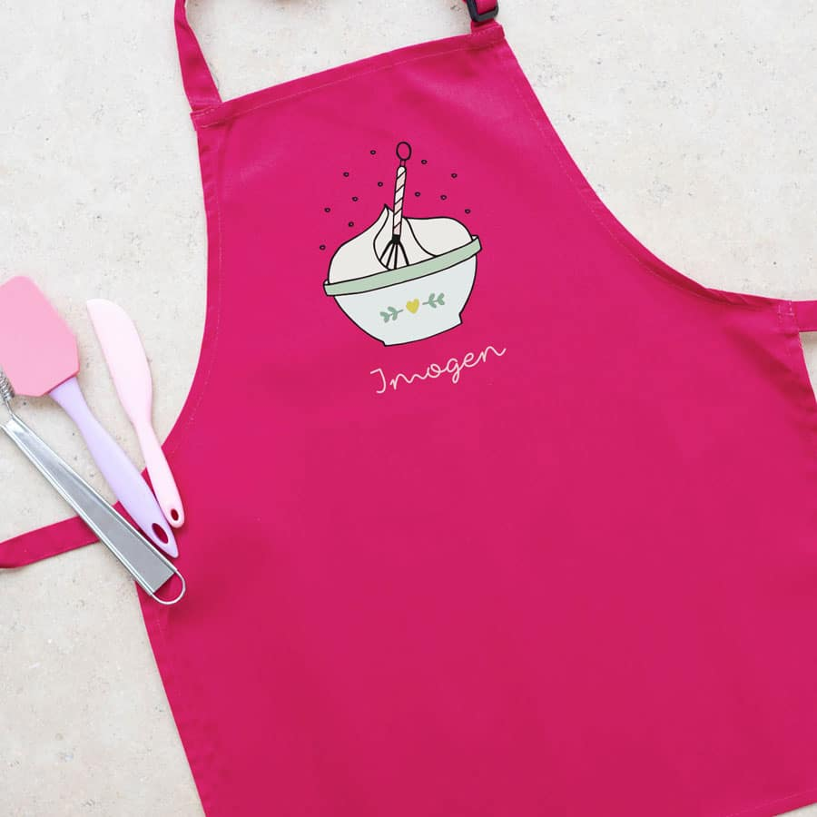 Personalised mixing bowl apron (Pink) perfect gift for a child who loves to help with baking and cooking