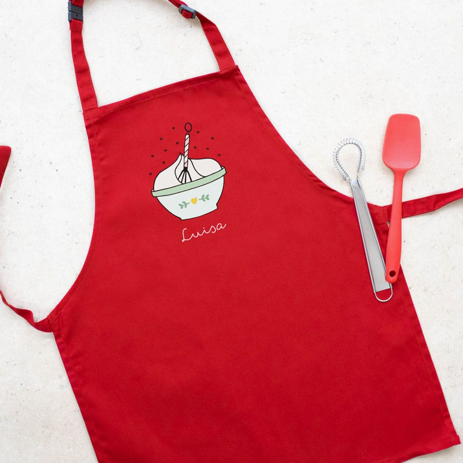 Personalised mixing bowl apron (Red) perfect gift for a child who loves to help with baking and cooking