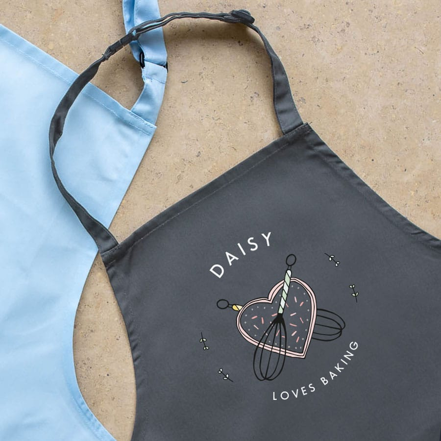 Personalised kitchen apron (Grey) perfect gift for a child who loves to help with baking and cooking
