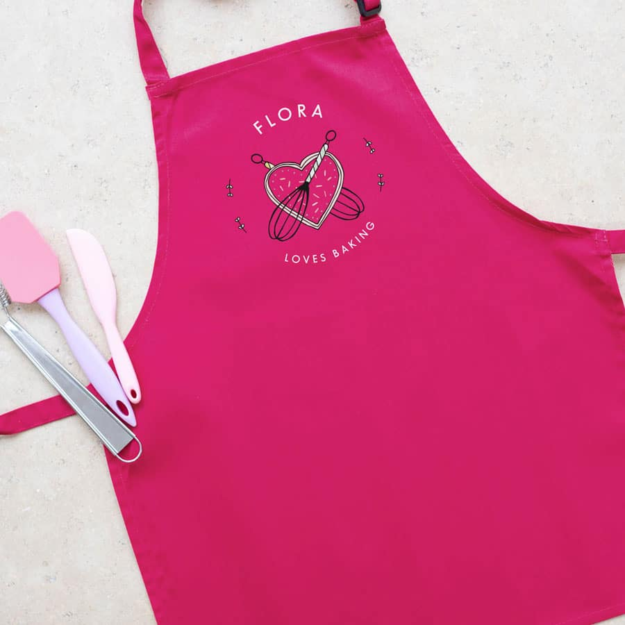 Personalised kitchen apron (Pink) perfect gift for a child who loves to help with baking and cooking