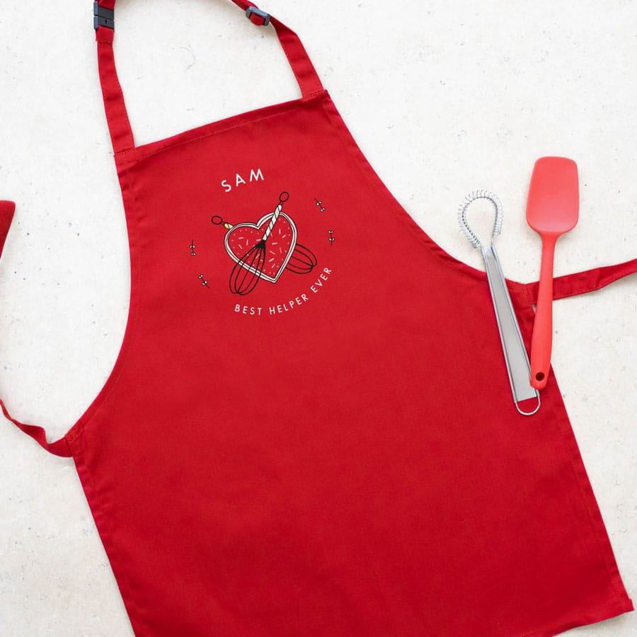 Personalised kitchen apron (Red) perfect gift for a child who loves to help with baking and cooking