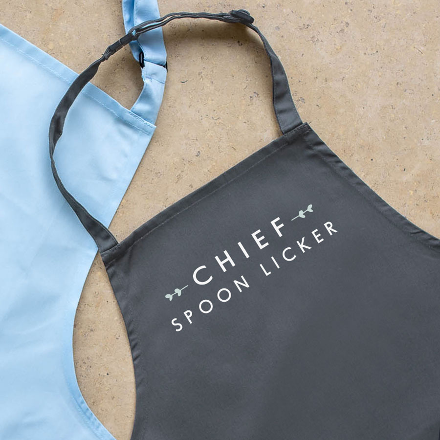 Chief spoon licker apron (Grey) perfect gift for a child who loves to help with baking and cooking