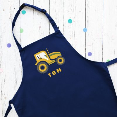 Personalised tractor apron (Navy) perfect gift for a child who loves to help with baking and cooking