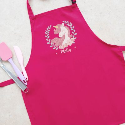 Personalised unicorn wreath apron (Pink) perfect gift for a child who loves to help with baking and cooking