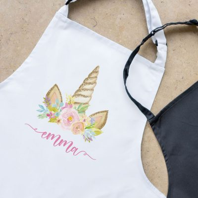 Personalised unicorn horn apron (White) perfect gift for a child who loves to help with baking and cooking