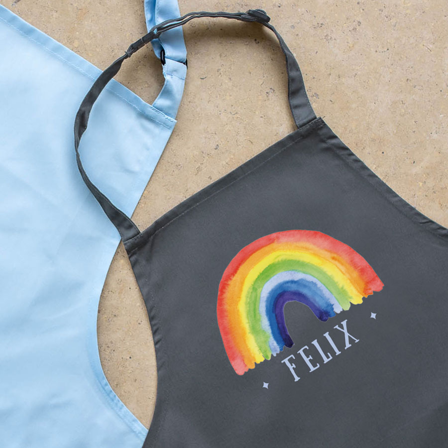Personalised rainbow apron (Grey) perfect gift for a child who loves to help with baking and cooking
