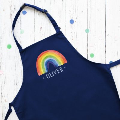 Personalised rainbow apron (Navy) perfect gift for a child who loves to help with baking and cooking