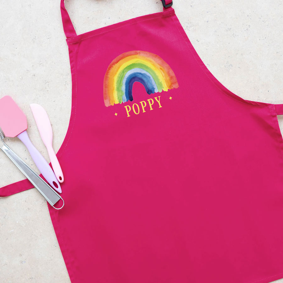 Personalised rainbow apron (Pink) perfect gift for a child who loves to help with baking and cooking