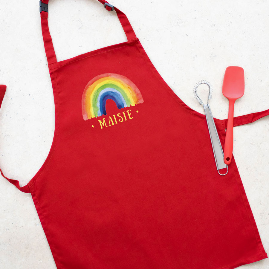 Personalised rainbow apron (Red) perfect gift for a child who loves to help with baking and cooking