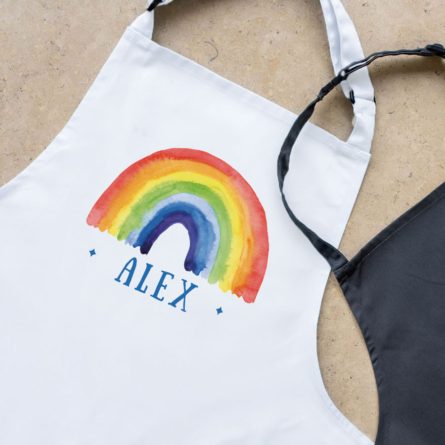 Personalised rainbow apron (White) perfect gift for a child who loves to help with baking and cooking