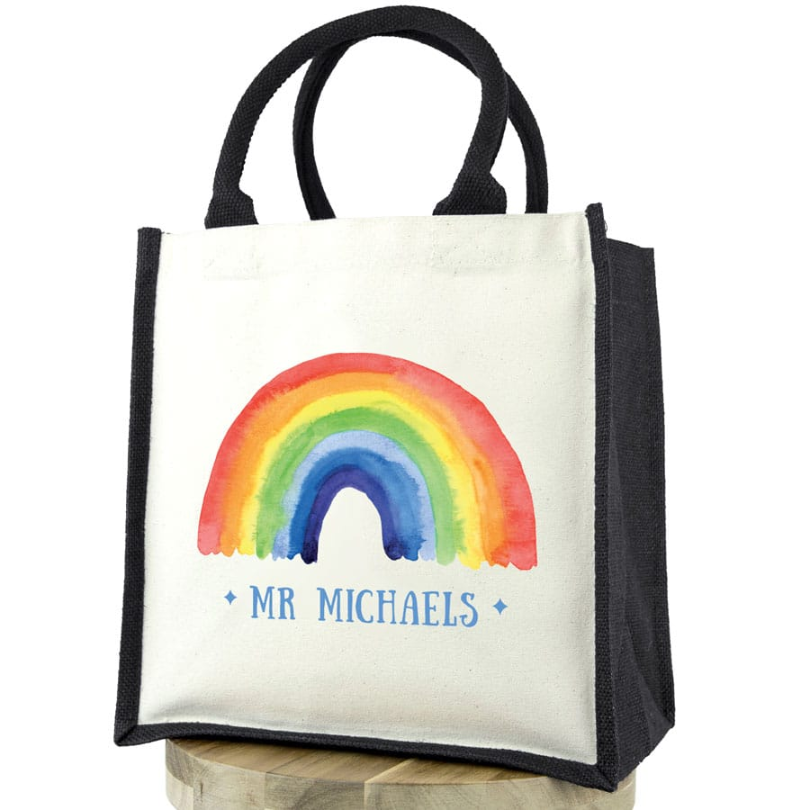 Personalised rainbow canvas bag (Black bag) a perfect gift to say thank for a family member, teacher, friend or carer