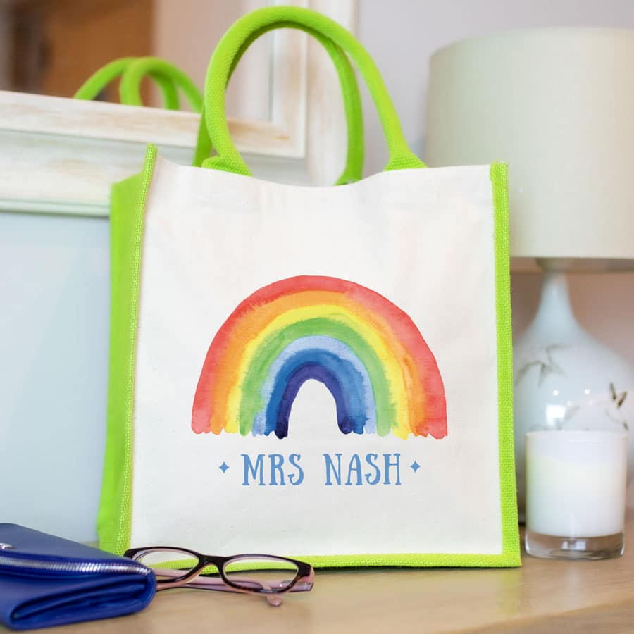 Personalised rainbow canvas bag (Green bag) a perfect gift to say thank for a family member, teacher, friend or carer