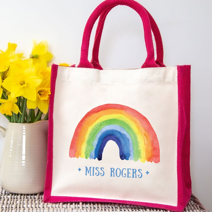Personalised rainbow canvas bag (Pink bag) a perfect gift to say thank for a family member, teacher, friend or carer