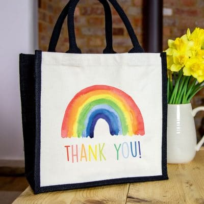 Rainbow gift canvas bag (Option 2 - Black bag) is a perfect thank you gift for a carer, family member or friend