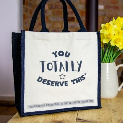 You totally deserve this canvas bag (Navy bag) a perfect thank you gift for a family member, friend or carer