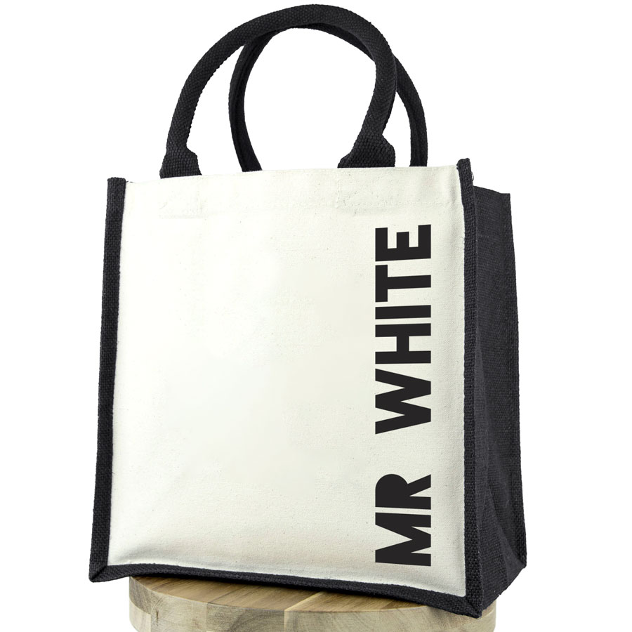 Personalised canvas bag (Black bag - black text) perfect as a thank you gift for teachers