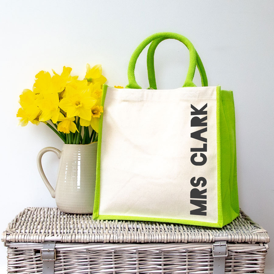 Personalised canvas bag (Green bag - anthracite text) perfect as a thank you gift for teachers