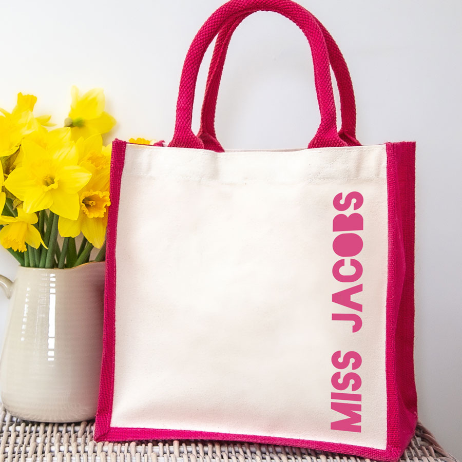 Personalised canvas bag (Pink bag - pink text) perfect as a thank you gift for teachers