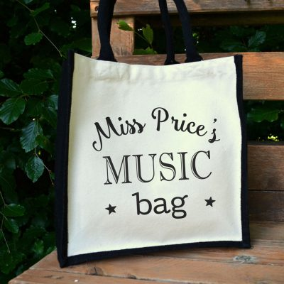 Personalised canvas bag (Black bag - black text) a perfect gift for a music teacher to say thank you