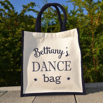 Personalised dance canvas bag (Navy bag) is a great gift for a dance teacher to say thank you