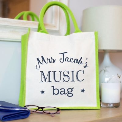Personalised canvas bag (Green bag - anthracite text) a perfect gift for a music teacher to say thank you