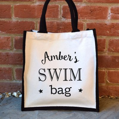Personalised swim canvas bag (Black bag) perfect gift for a swimming teacher