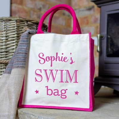 Personalised swim canvas bag (Pink option) perfect gift for a swimming teacher or swimmer to store towels and swimming costume