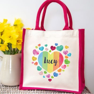 Personalised rainbow heart canvas bag (Pink bag) makes a perfect thank you gift for a teacher, carer, family member or friend