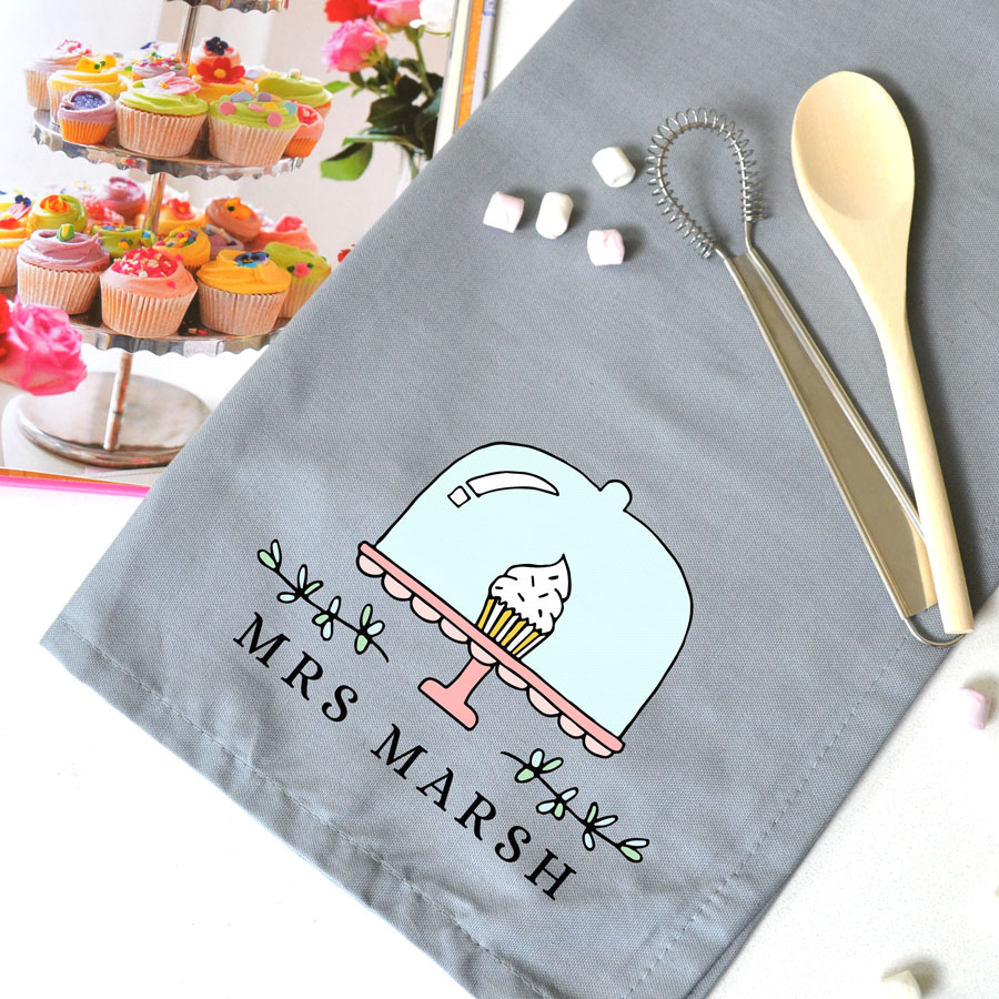 Personalised cake stand tea towel (Grey) is a perfect gift for a baker, teacher, family member or friend