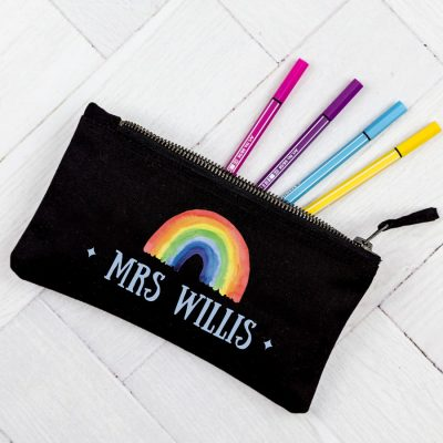 Personalised rainbow pencil case (Black case) makes a perfect gift for a teacher at the end of term