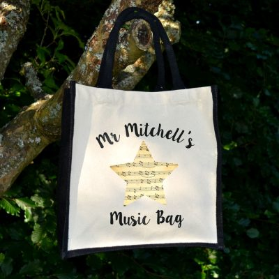 Personalised music note canvas bag (Black bag) is a perfect gift for a music teacher to say thank you