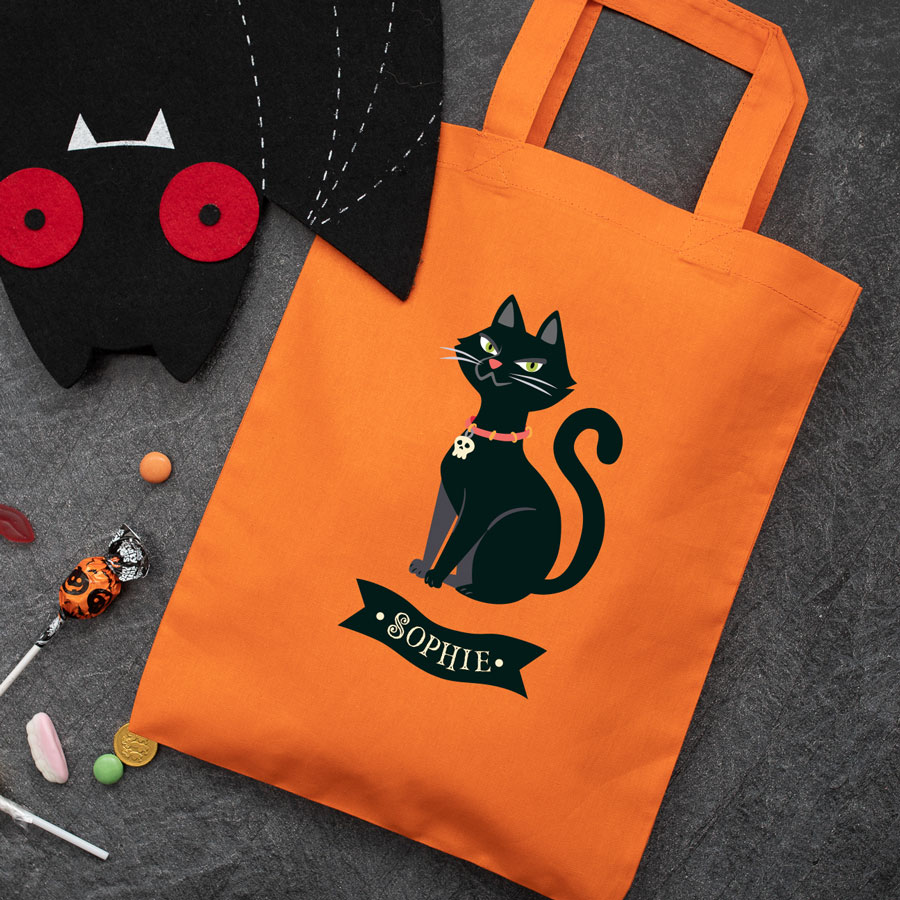 Personalised cat trick or treat bag (Orange) perfect for Halloween trick or treat featuring a cat and personalised banner