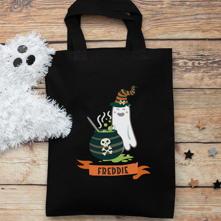 Personalised ghost and cauldron trick or treat bag (Black) perfect for Halloween trick or treat featuring a ghost and cauldron and personalised banner