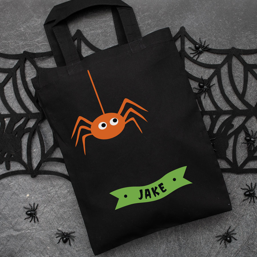 Personalised spider trick or treat bag (Black) perfect for Halloween trick or treat featuring a spider and personalised banner