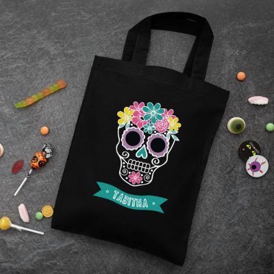 Personalised skull trick or treat bag (Black) perfect for Halloween trick or treat featuring a skull or calavera and personalised banner