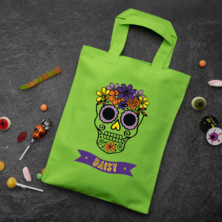 Personalised skull trick or treat bag (Green) perfect for Halloween trick or treat featuring a skull or calavera and personalised banner